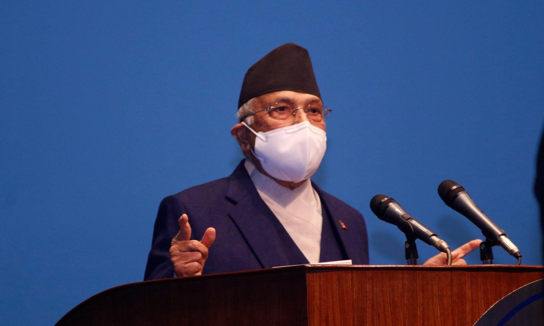 Prime Minister Oli speaks at the Parliament. |