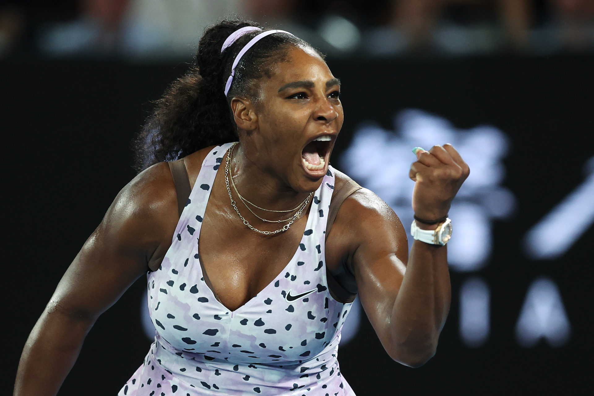 Serena Williams of the United States celebrates after winning a point during her Women's Singles second round match against Tamara Zidansek of Slovenia on day three of the 2020 Australian Open at Melbourne Park on in Melbourne, Australia.