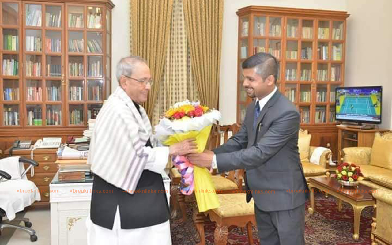 Dr. Yadav with the Ex President of India Pranab Mukharjee