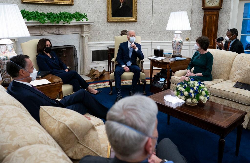 President Biden and Vice President Kamala Harris met with Republican senators on Monday about a stimulus plan.Credit...Doug Mills/The New York Times